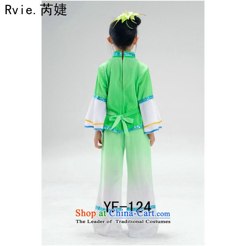 New Year's children yangko dance wearing girls will dance wearing children early childhood costumes and green powder160cm