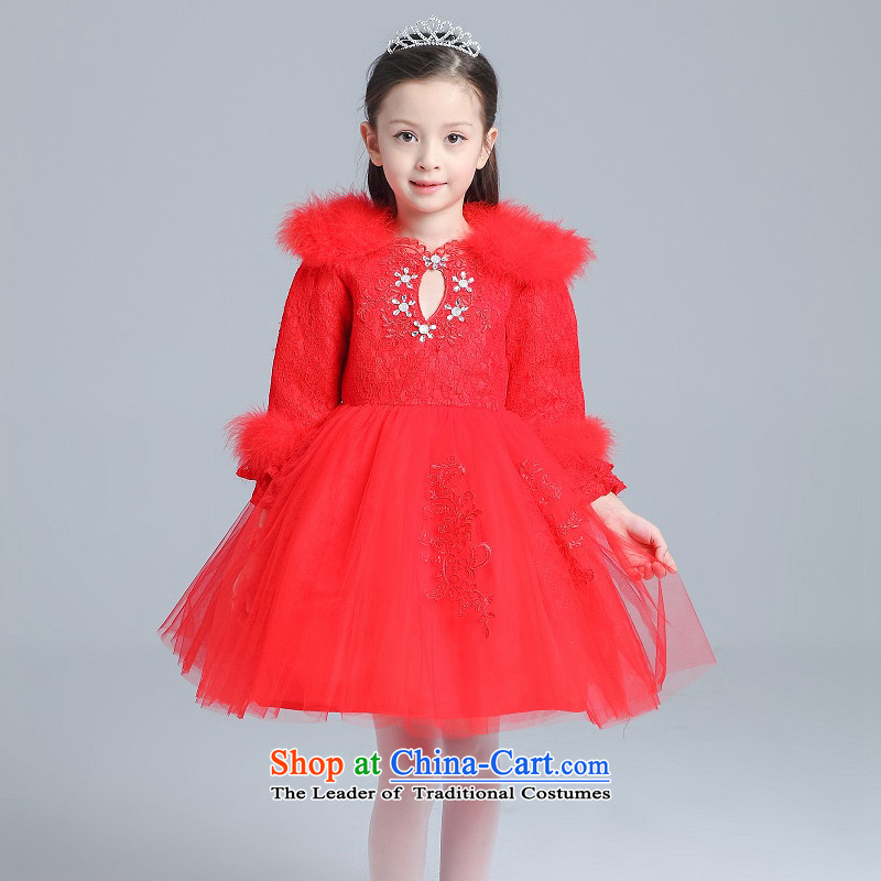 M high state of 2015 winter Maomao collar Flower Girls dress children ironing drill princess skirt bon bon skirt dance skirt Red 130