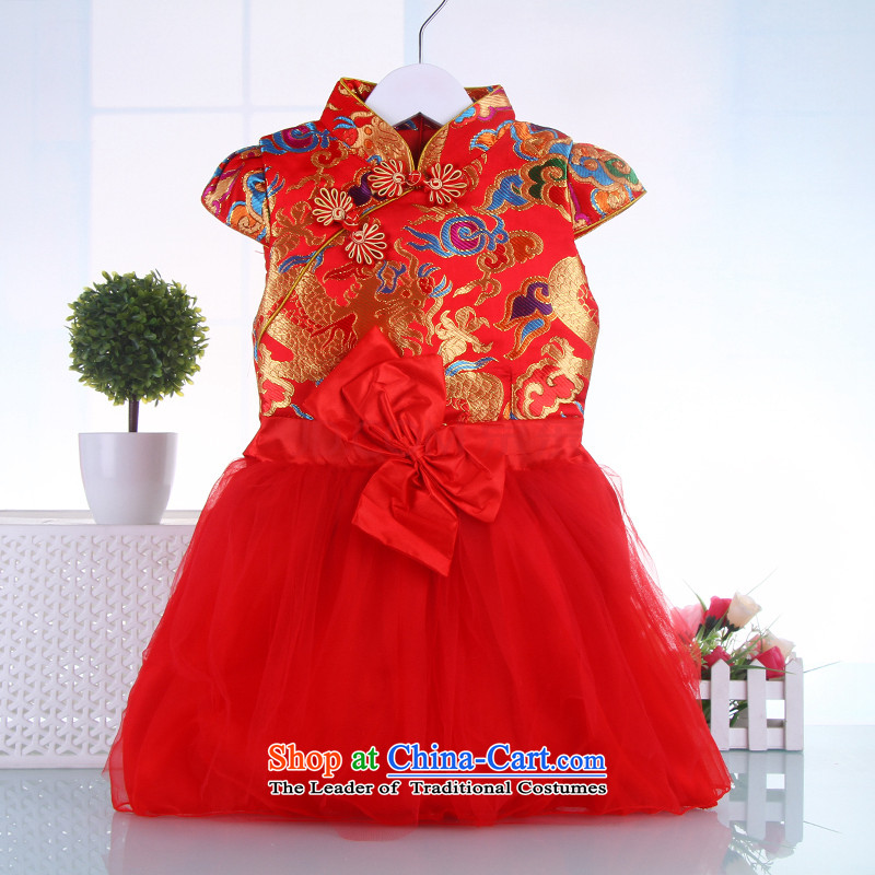 Autumn and winter cheongsam dress the new girls qipao thick baby Tang dynasty children of ethnic costumes child guzheng will dance dresses Red 120