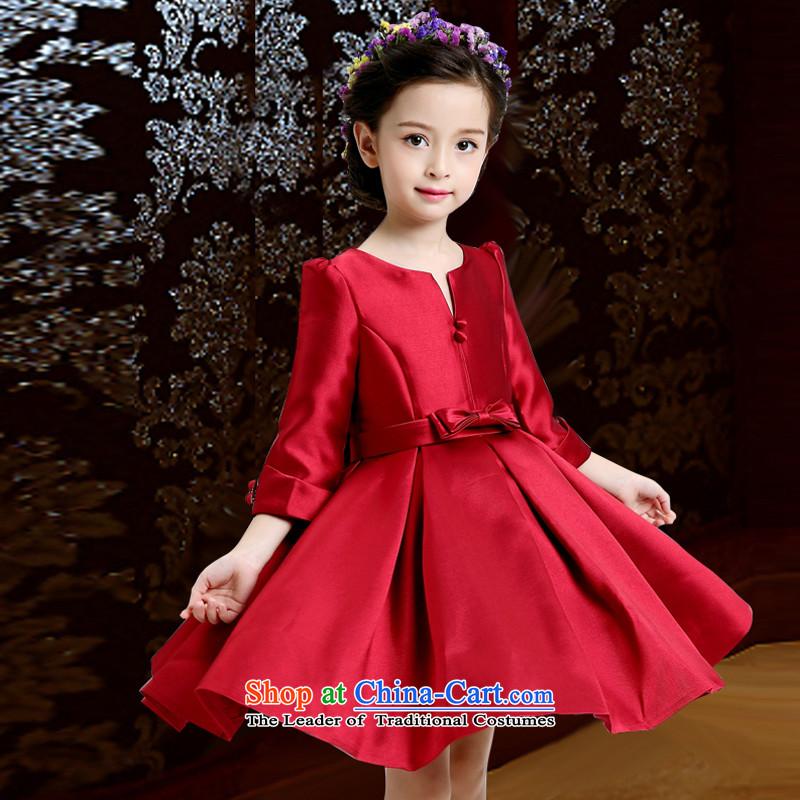 Each girl children dresses Ngai will princess skirt dress skirts children dance serving girls wine red150