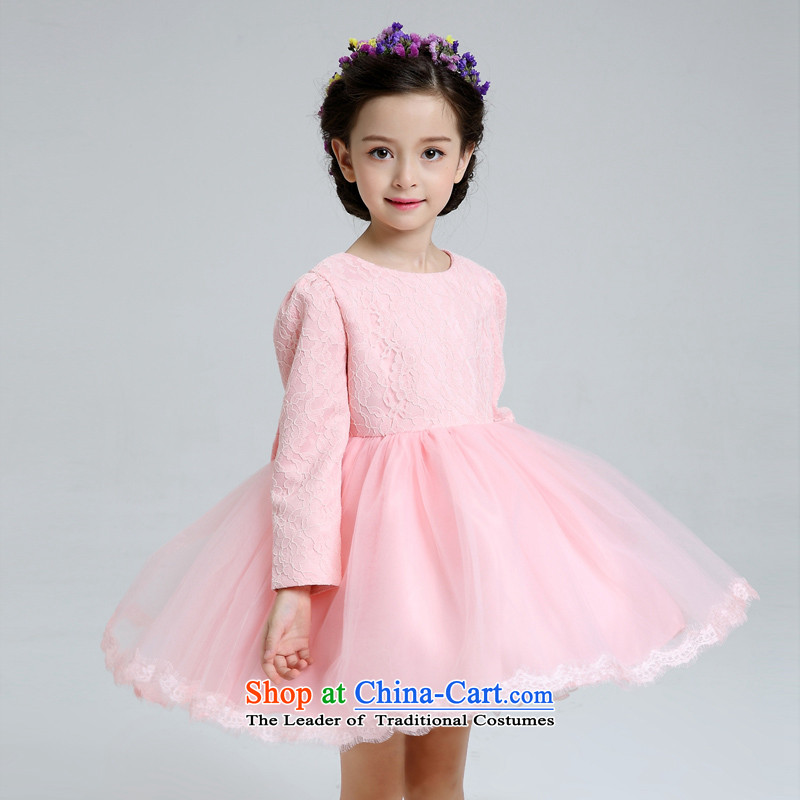 Each Ngai girls dress skirt dance services girls children princess skirt dress skirt girls show long-sleeved clothing pink dresses?150