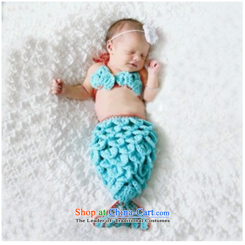 Knitted weaving floor manually photo session props children sets your baby hundreds of Rizhao Mermaid styling clothing Chest Flower + Crowsfoot Infant