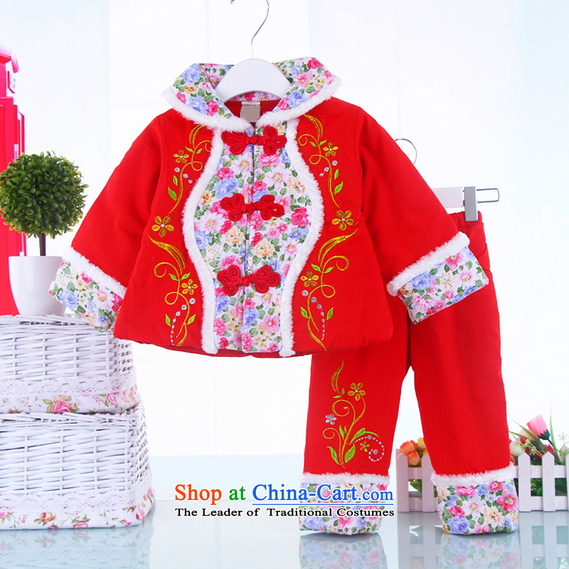 Infant winter clothing infant Tang dynasty children's clothing female babies kit thick saika Tang Gown of children's wear Red聽100