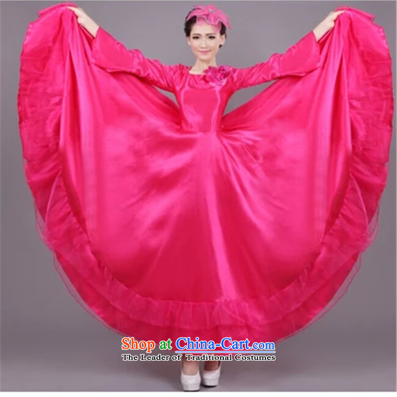 The new cultural dances yangko female chorus long skirt stage opening large Christian costumes of skirt 720 degreesXXXL red