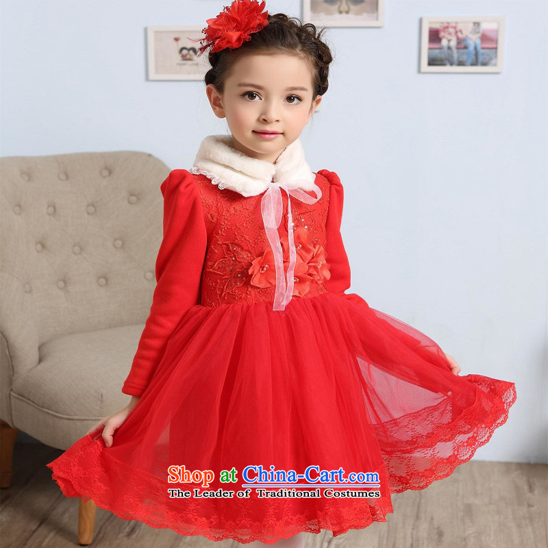 M high state of the 2015 Winter girls not pure cotton lint-free flower dress children Christmas With New Year with Princess skirt Red140