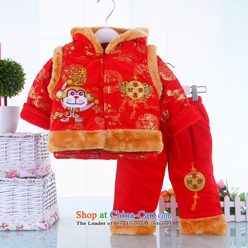 Tang Dynasty children winter new child baby crystal lint-free 3-piece set thick cotton services for boys and girls, a thick card kit 80_80_ Red