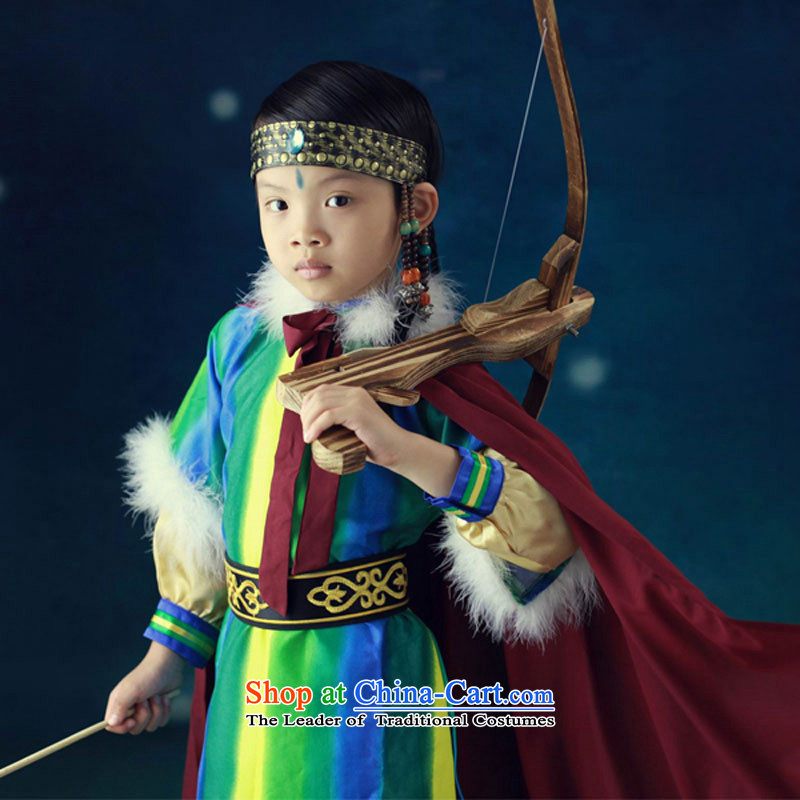 Children costume show apparel national costume e-packaged classical performances will dress 61 Green?150cm