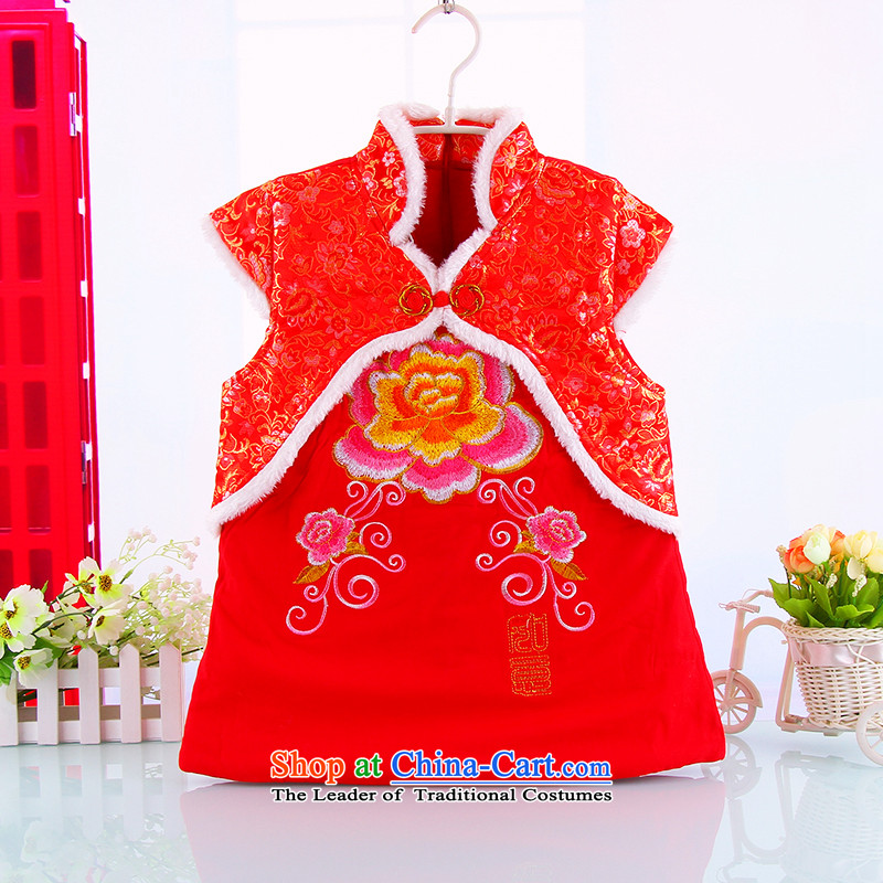 New Year holiday qipao children winter female babies winter outdoor warm thick kids cheongsam Tang dynasty girls Red 110