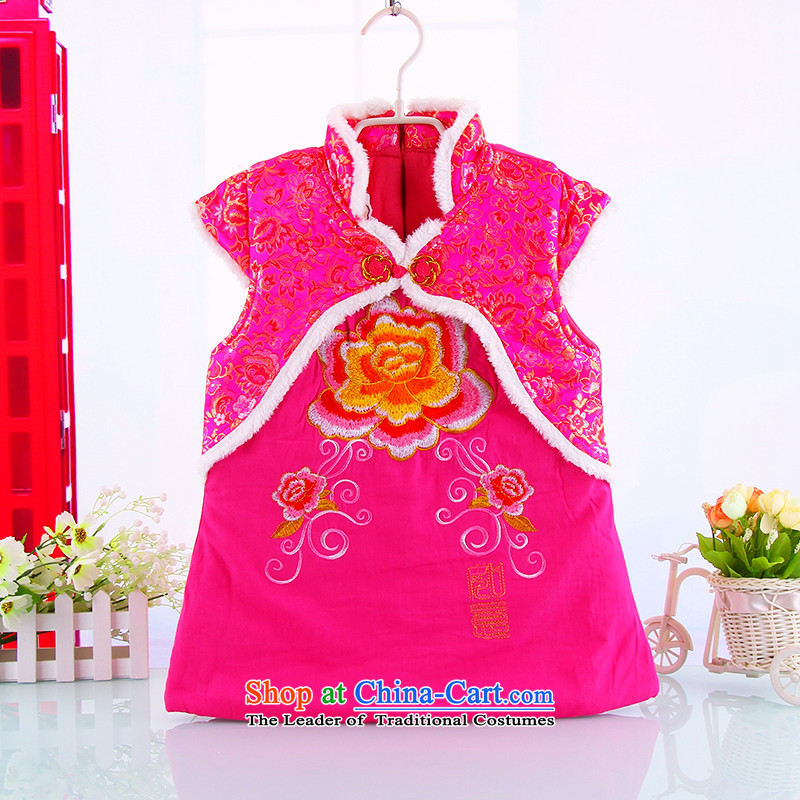 The girl child with thick qipao Tang baby years package for new year's New Year with children clothes thick clothes for winter in red聽110