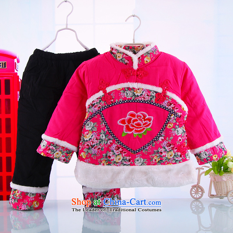 The girl child with cotton-tang China wind-old baby girl, Tang dynasty 0-3 years female babies thick winter jackets with the Red 120