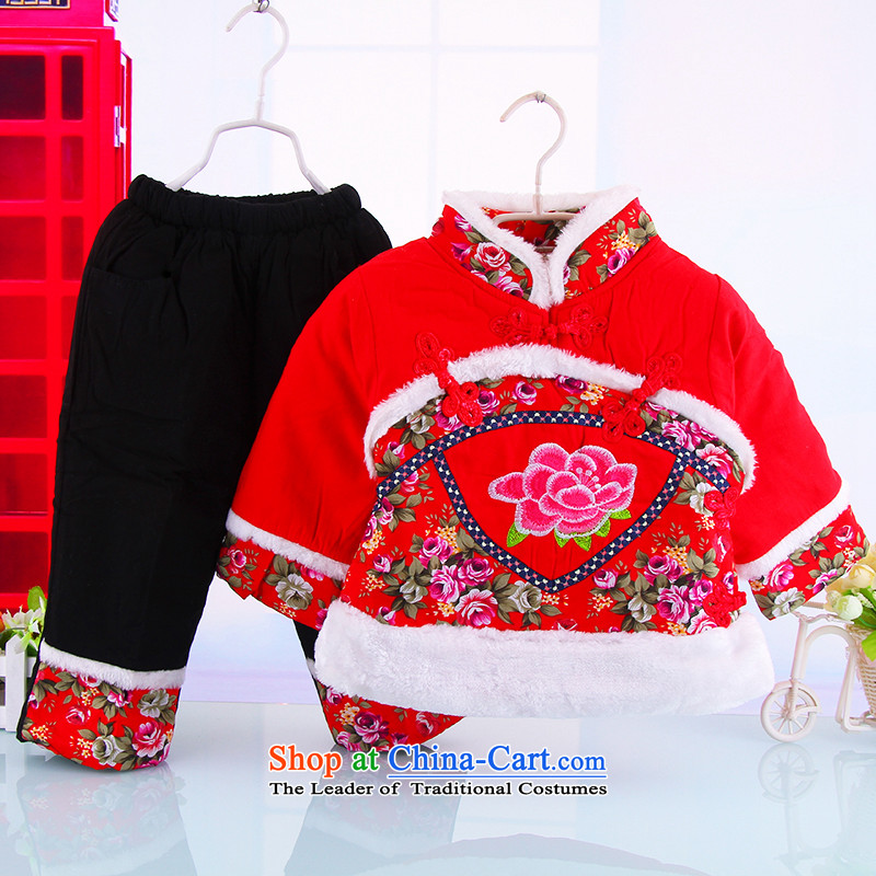 The girl child with cotton-tang China wind-old baby girl, Tang dynasty 0-3 years female babies thick winter jackets with the red120 Bunnies Dodo xiaotuduoduo) , , , shopping on the Internet
