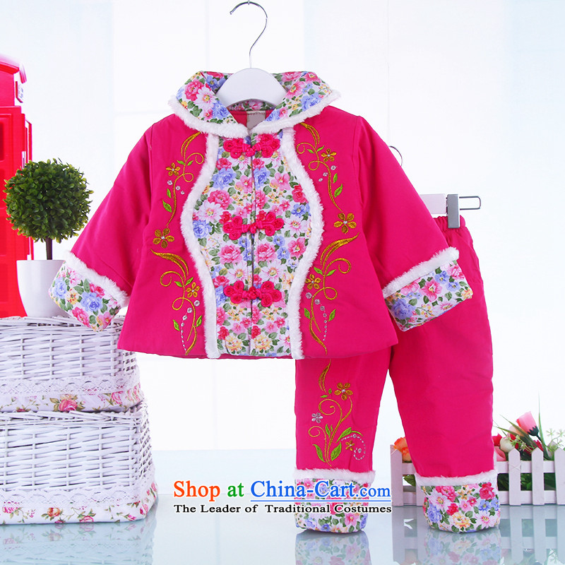 Winter new women's baby Tang dynasty infant winter coat in the winter female child aged 1-2-3 baby thick Tang dynasty jackets with the Red 100