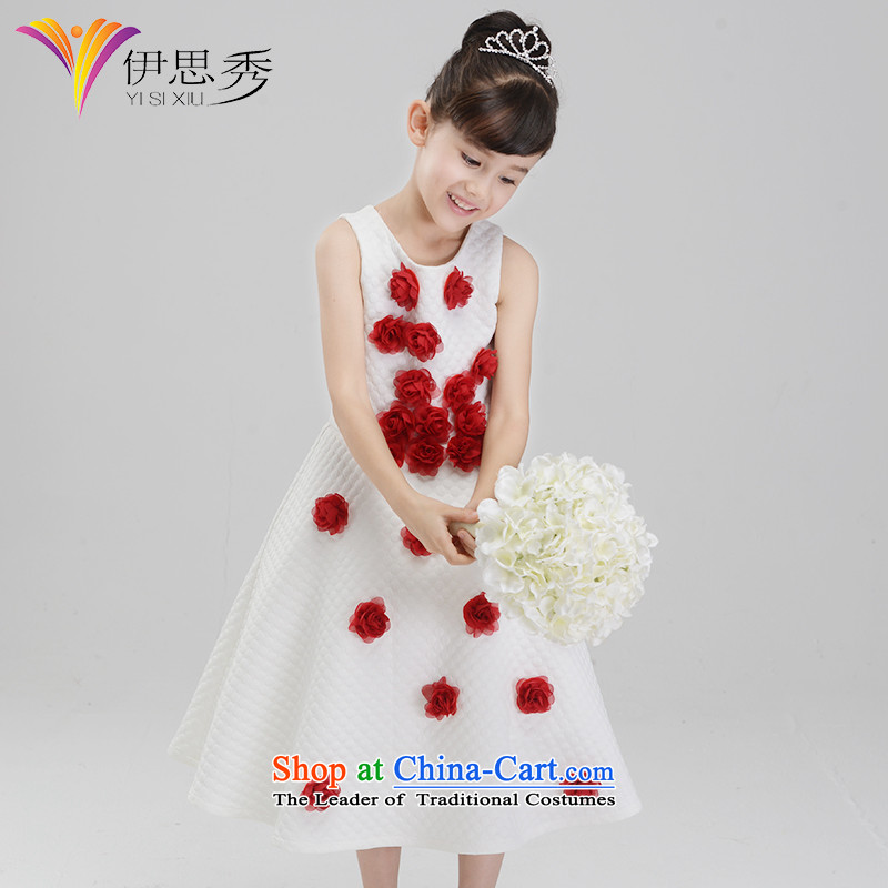 The league-soo girls dress princess skirt Flower Girls children's wear dresses children birthday dress evening dress Christmas roses V005 autumn and winter female skirt 160
