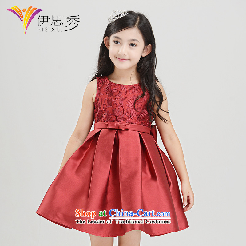 The league-soo Flower Girls dress bon bon skirt girls wine red princess skirt Christmas moderator small dress autumn and winter V002 single piece skirt 160