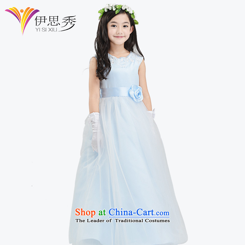 Miss Cyd autumn and winter league of new child princess skirt girls dress Flower Girls long dress owara light blue dress Christmas?V003 will light blue long skirt?140