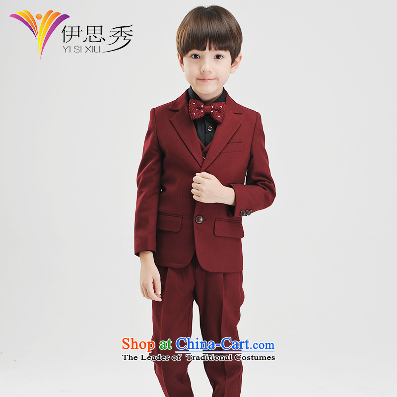 The league-soo children suits Kit Flower Girls dress boy wine red suit coats thick small business suit autumn and winter Christmas Concert聽Y038 suits with five black shirts聽160