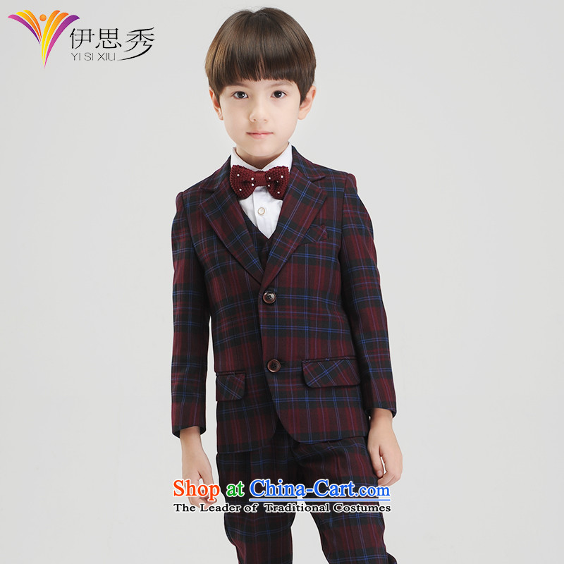 Miss Cyd autumn and winter league of new small boy suit kit children performances suits Flower Girls dress suit coats?Y054 boys red grille kit with 5?160