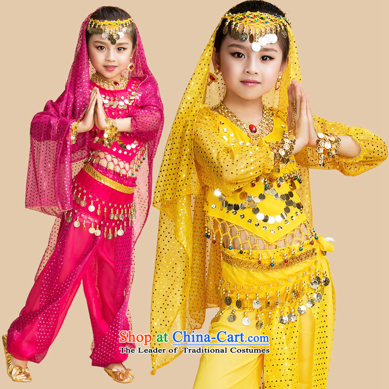 Children will long-sleeved belly dance show children wearing Indian dance performances at Children Services Bundle Set stage costumes yellow S