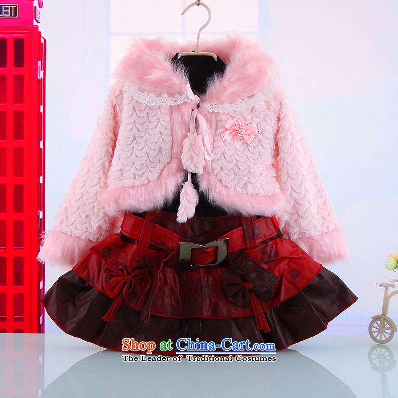 The autumn and winter, female babies outdoor kit 2-3-4-5-6 skirt-year-old girl warm thick two kits new girls princess skirt deep red?100