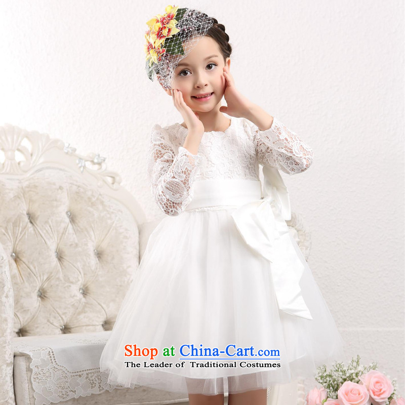 The spirit of children's wear skirts dresses birds children long-sleeved Fall/Winter Collections girls Princess Flower Girls white dress kids girls winter skirt White 150