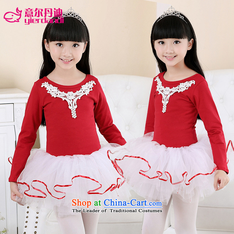 Intended for children dance dandi serving girls of autumn and winter long-sleeved costumes ballet skirt singing performances of pure cotton winter exercise clothing Red 130