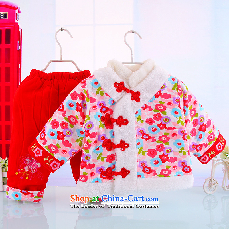 New Women's baby Tang dynasty infant winter coat winter female infant children's wear cotton clothing Tang dynasty out clothing saika red聽80_80_ two kits