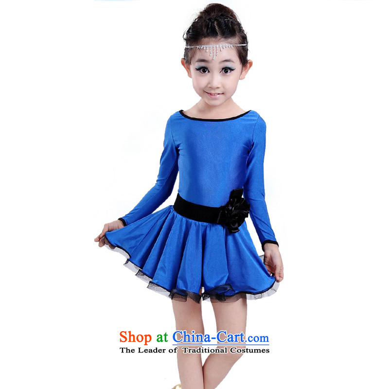 Children of autumn and winter Latin dance wearing long-sleeved girls exercise clothing children Latin dance wearing children dance skirt Blue 140