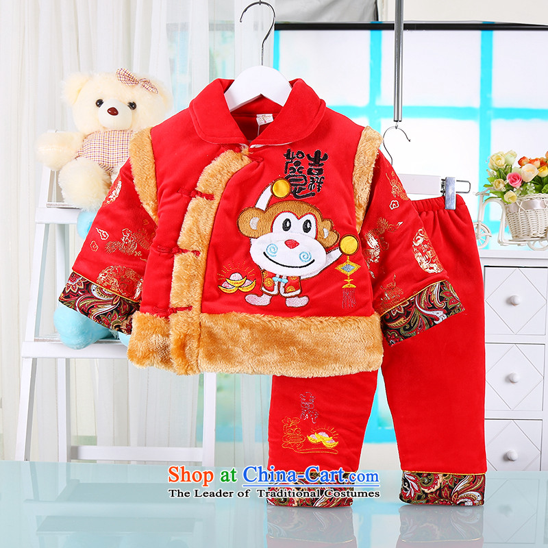The new winter men and women of pure cotton Tang dynasty boys thick cotton coat men and women baby ethnic performances to celebrate the two kit aged 1-2-3 Red 80