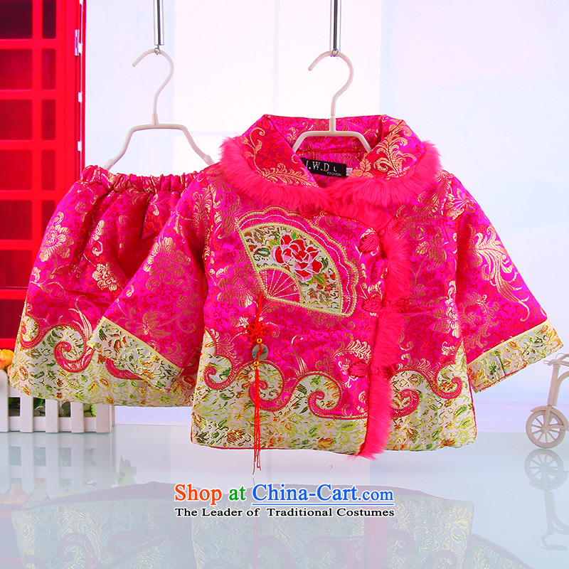 Winter new women's baby Tang Dynasty Package girls winter clothing away warm Tang Kit skirt rose�100