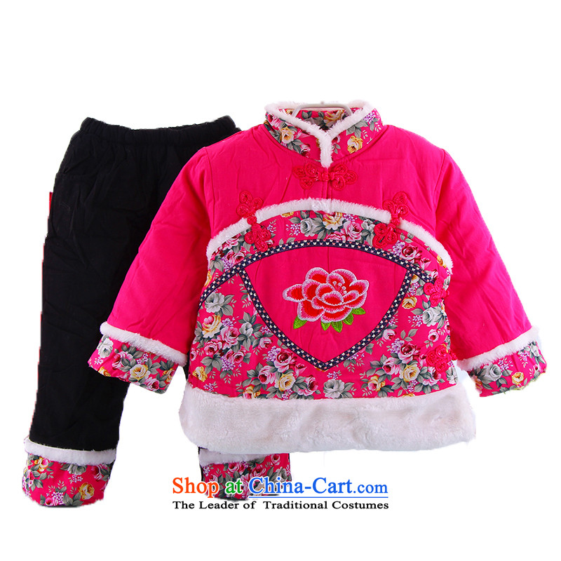 The baby girl children in Tang Dynasty Package winter) cotton coat infant birthday gifts girls foreign dress pure cotton New Year with red children's apparel winter clothing will dress rose 5.30