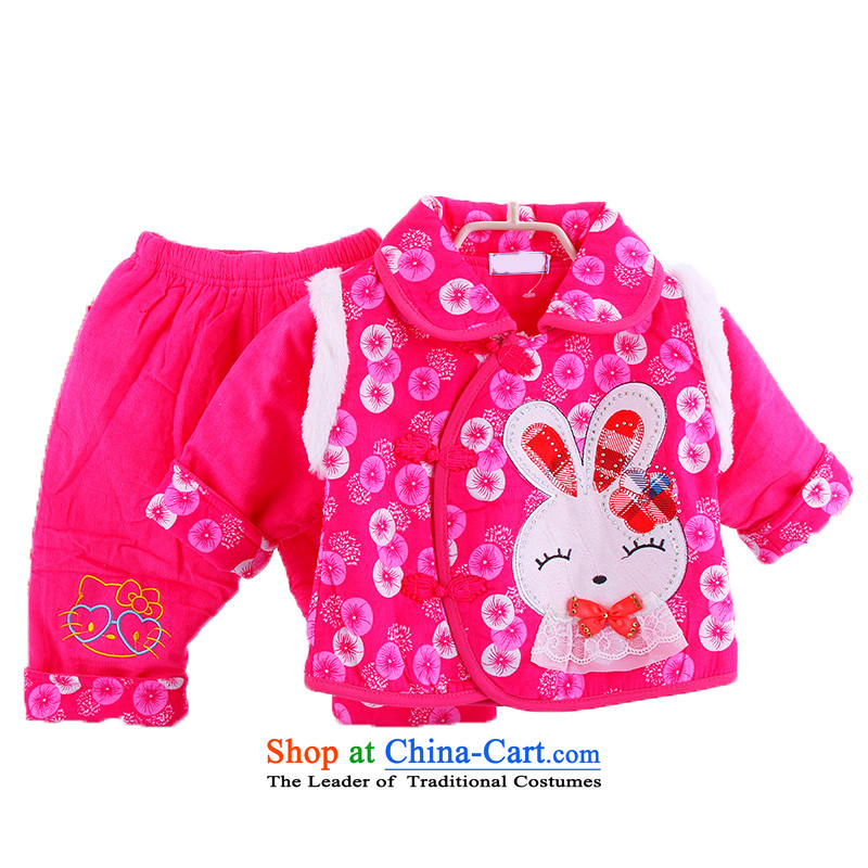 The newborn girls winter clothing cotton coat Kit Baby clothing cotton clothing clip cotton out service 0-1-2 age-old baby Tang dynasty full moon dress rose90cm