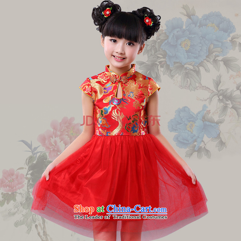 China wind the new girls qipao BABY CHILDREN Tang dynasty princess skirt dress guzheng performances dress spring and summer 4635 Red120