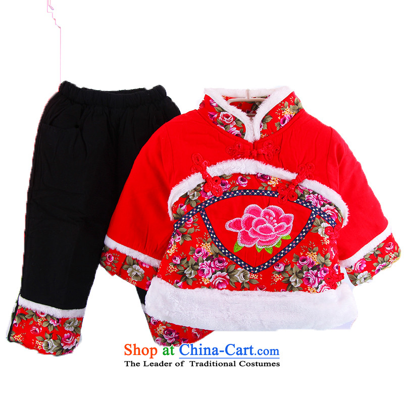 The autumn and winter new Tang Dynasty Package children infant winter clothing girls birthday gifts for children aged 1-5 half your baby will dress thick New Year visited two kits of 100cm tall red reference
