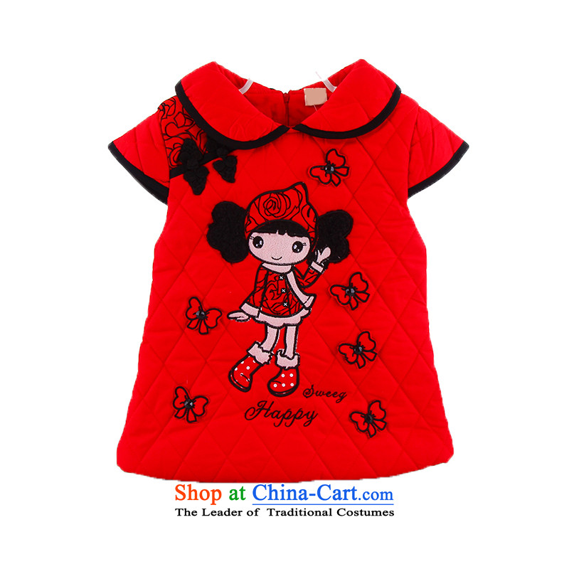 The autumn and winter new girls qipao stylish cute baby winter clothing baby out wild princess skirt dress with pure cotton Betty New Year boxed birthday dress red聽110cm,