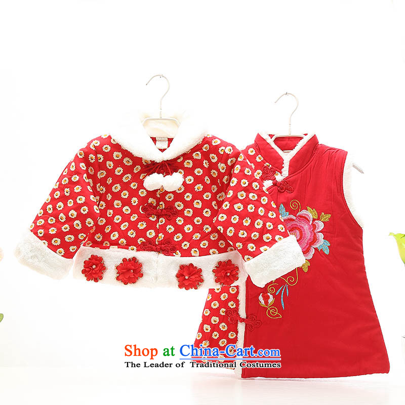The baby girl, Tang dynasty birthday winter age girls qipao gown kit thick cotton 123babies for winter clothing thick out services Red 110