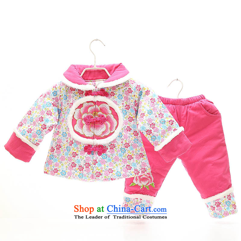 New Year Children Tang dynasty winter clothing Girls Boys Girls baby coat cotton coat clothes infant and child birth years dress photo infant garment aged 1-2-3 in red 100