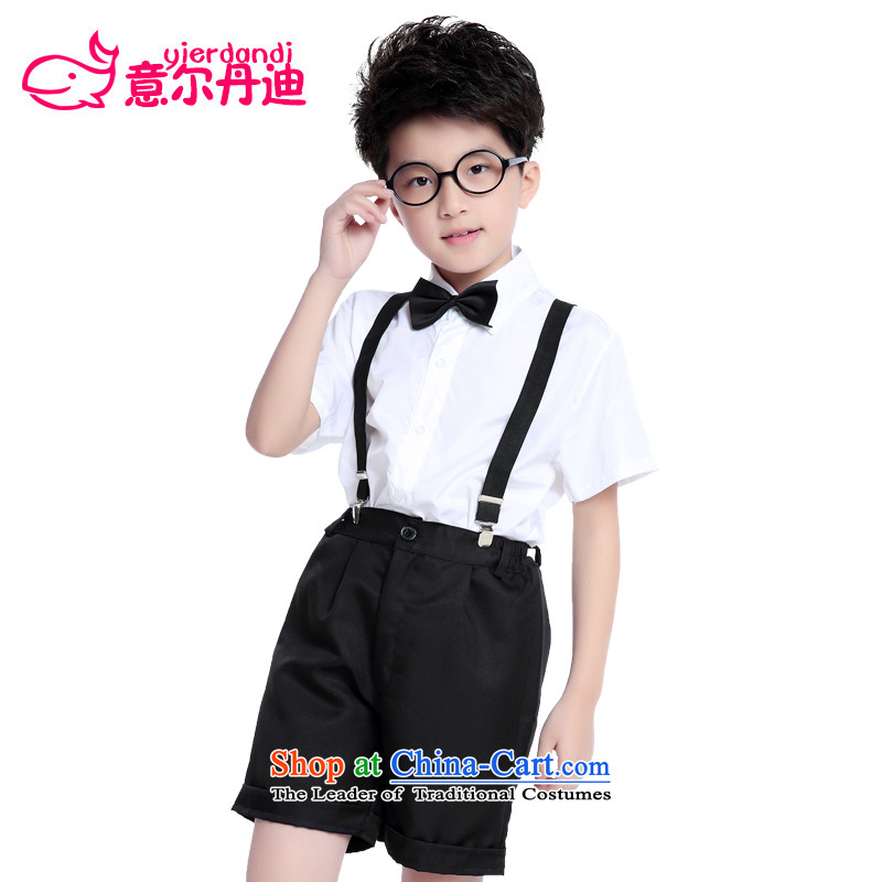 America than M Leung Flower Girls dress boy children's entertainment autumn and winter clothing choral services shirt jumpsuits New Year will set short-sleeved shorts100