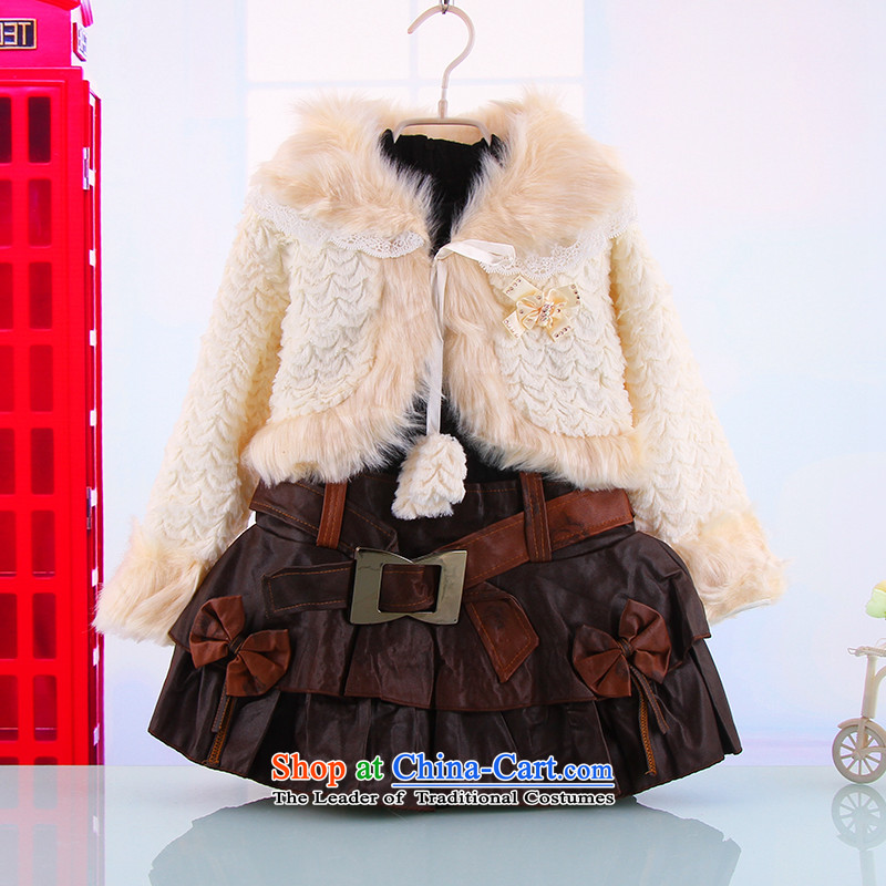 The autumn and winter, female babies outdoor warm thick two kits of female babies new girls Princess Van Small Kit skirt 798.9B in treasury securities White聽120