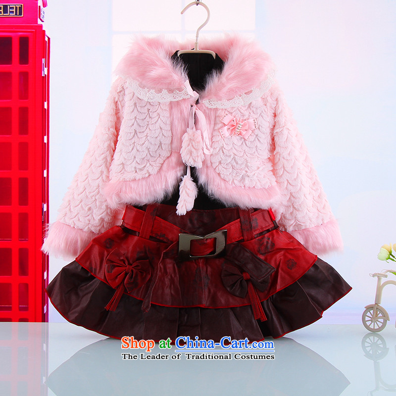 The autumn and winter, female babies outdoor warm thick two kits of female babies new girls Princess Van Small Kit skirt red white pink聽120