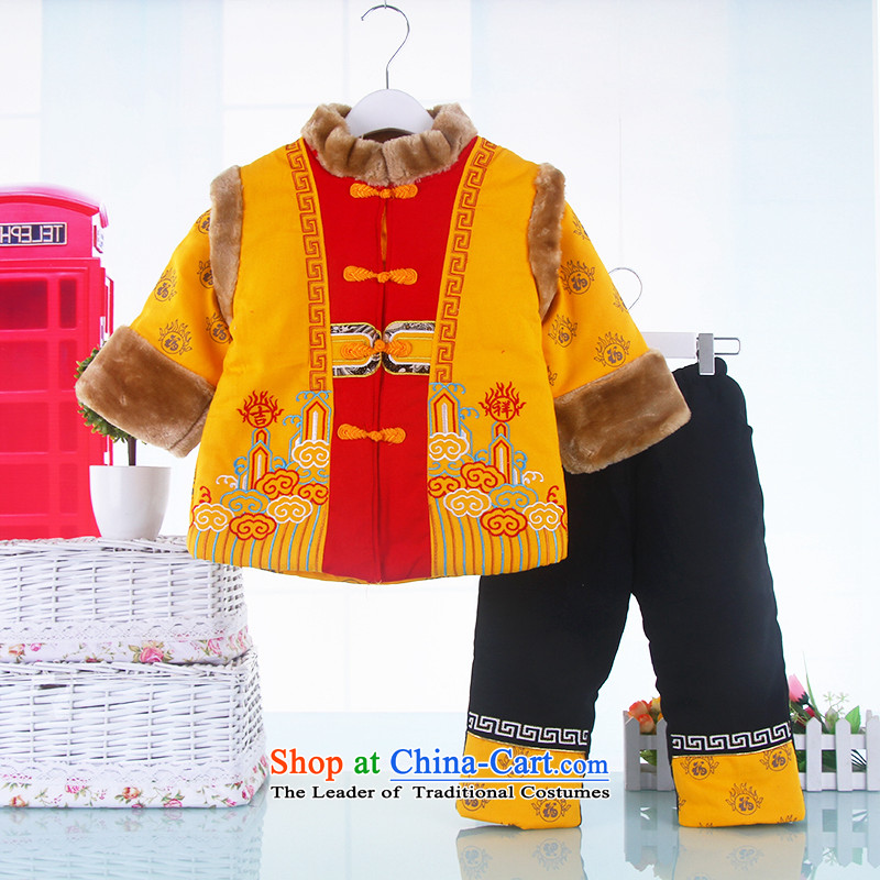 The children of the new sets of winter children Tang dynasty pure cotton waffle dress your baby birthday new year with China wind yellow 130