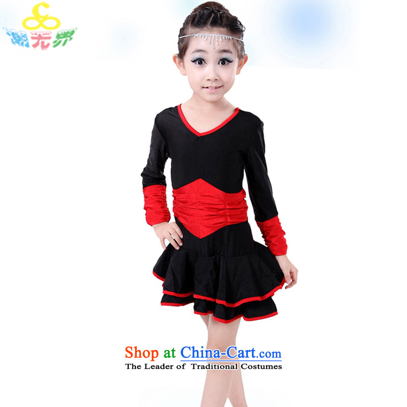 Children fall and winter clothing Latin dance female children serving Latin dance long-sleeved clothing girls Latin dance skirt exercise clothing Red 130