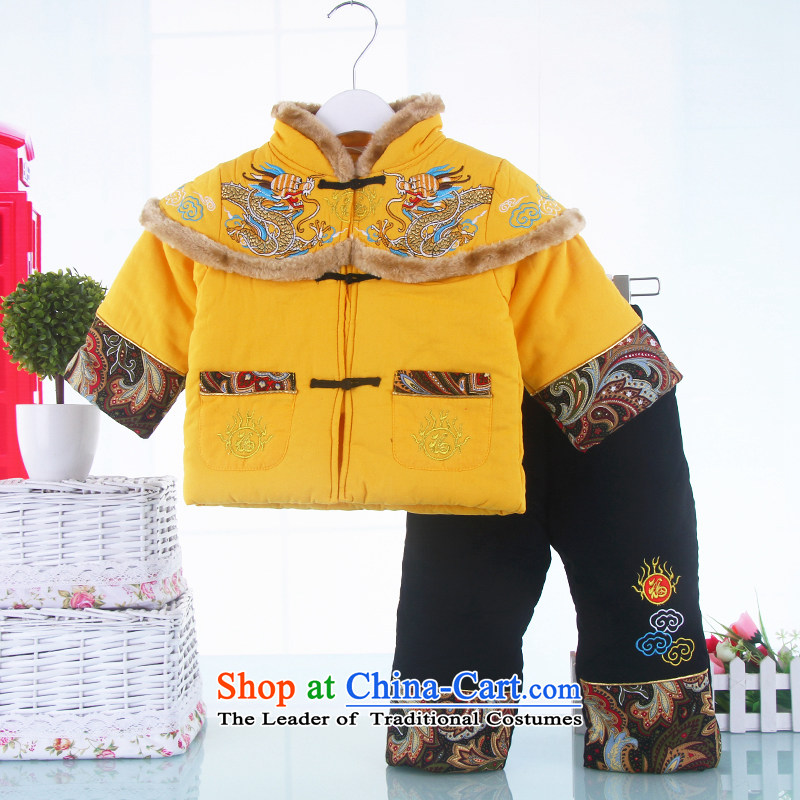 Winter clothing baby Tang Dynasty Chinese New Year celebration for the children of the new age of lint-free dress thick Chinese Tang dynasty Out & About Set 130(130) yellow