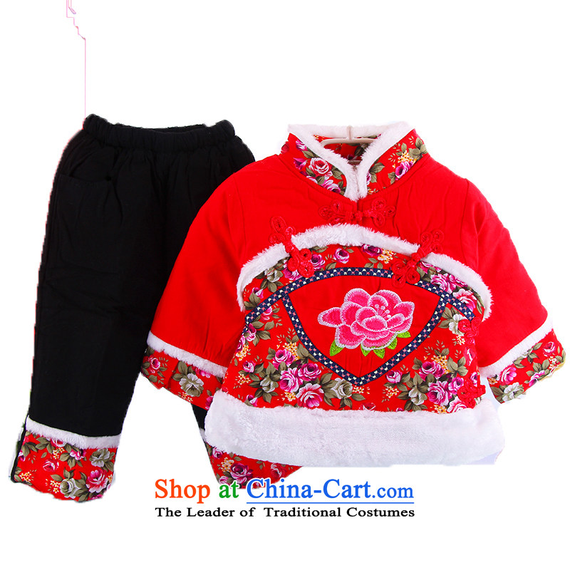 Children of cotton coat babies winter female babies Tang Dynasty Package girls birthday gift of nostalgia for the new year of the Foreign Affairs dress with children and of children's wear winter clothing will dress two kits red 100cm