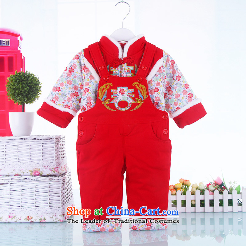 The new baby girl children for winter cotton waffle kit two children's wear jumpsuits winter clothing plus new year Tang dynasty girls packaged in red 100