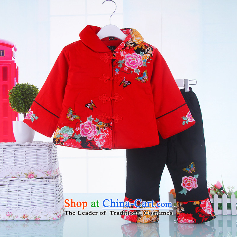 Tang Dynasty children girls winter clothing thick baby girl infants package for new year of age-old cotton dress 1-2-3-4-5 Red 120