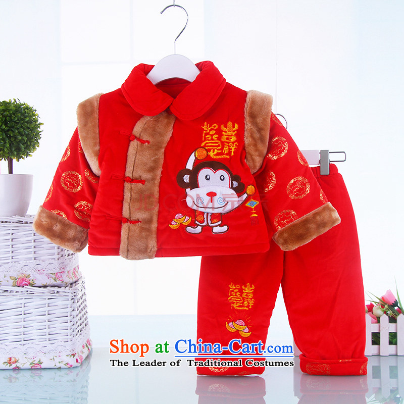 The new children's wear sex differentials in infant Tang dynasty new children's wear boys Fall_Winter Collections of infant and child warm winter children small monkeys warm Tang Dynasty Package Red聽66