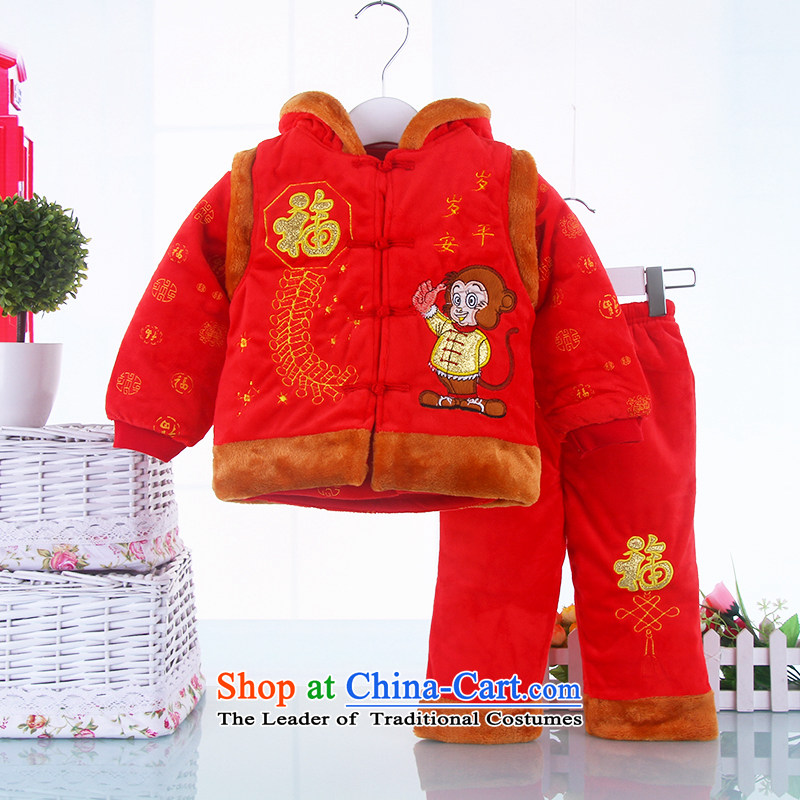 The New New Year Children Tang dynasty winter clothing girls aged men spend 0-1-2 茫镁貌芒 infant children's wear kid baby New year red聽90
