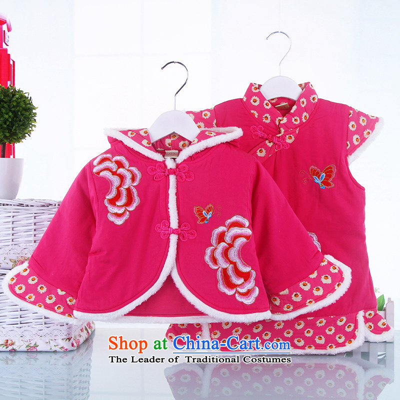 Tang Dynasty new children fall/winter collections of female babies qipao kit girls pure cotton stylish celebration package of qipao shawl Red 110