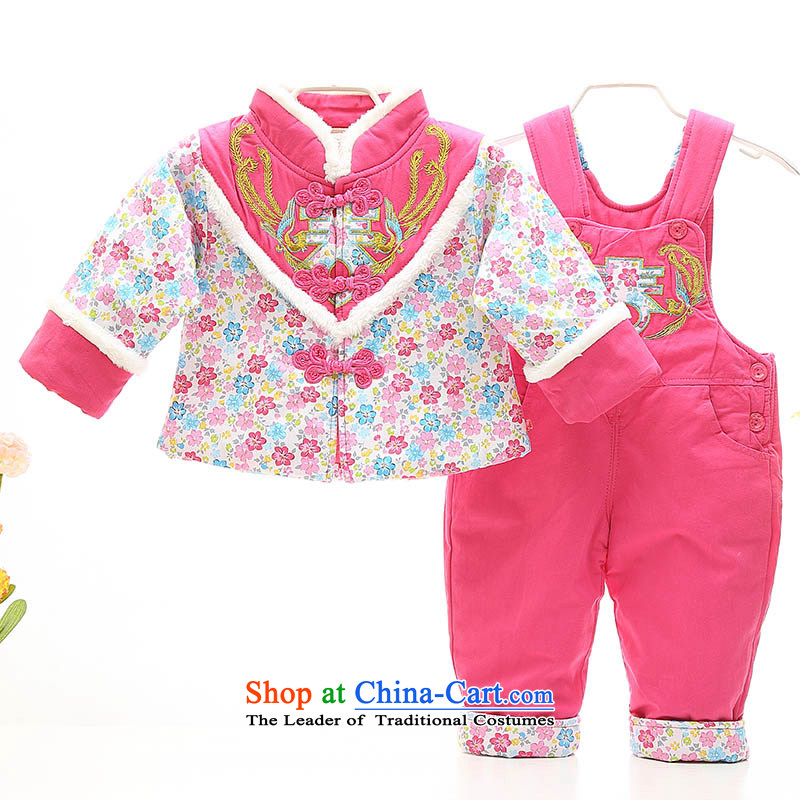 The baby girl winter clothing Tang dynasty 0-1-2-3-year-old girl Tang dynasty jumpsuits kit infant age out service happy to take pictures of children's wear red 100 Photography
