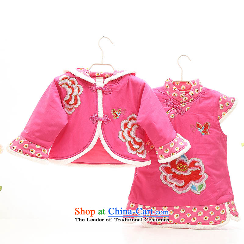 New Year Girls Tang dynasty qipao 茫镁貌芒 winter jackets with 0-1-2-3-4 baby-year-old female babies thick winter clothes Winter celebration of child care Red聽110